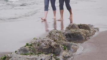 paar wandelen op het strand samen. geschoten op rood episch voor hoge kwaliteit 4k, uhd, ultra hd-resolutie. video