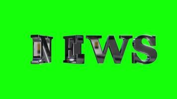 nyheter 3d text grön skärm loop animation video