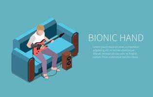 Bionic Hand Guitarist Banner vector