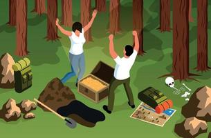 Forest Treasure Hunt Composition vector