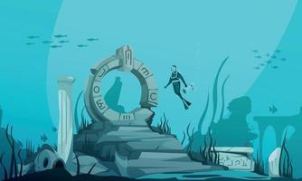 Sunken Atlantis Cartoon Poster vector