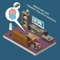 Brain Gadgets Connection Composition vector