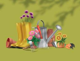 Realistic Gardening Tools Composition vector
