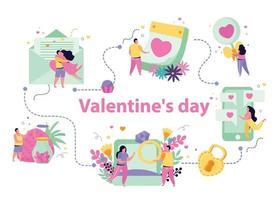 Valentines Day Flat Flowchart vector