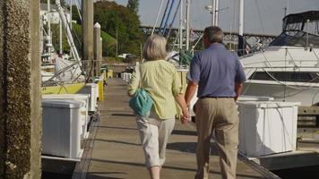 seniorpar som går på bryggan vid marinan. sköt på röd epik för högkvalitativ 4k, uhd, ultrahd -upplösning. video