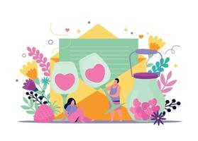 Valentines Drink Flat Composition vector