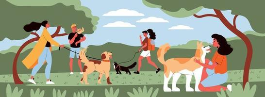 People Walking Pets Composition vector