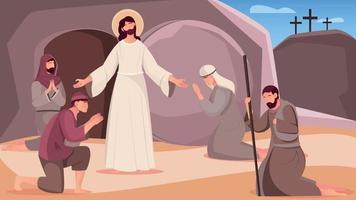 Jesus Resurrection Flat Illustration vector