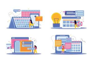 Planning Flat Compositions Set vector