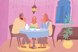 Muslim Family Ramadan Composition vector
