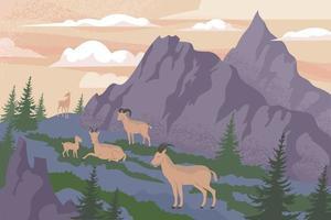 Wildlife Mountains Flat Composition vector