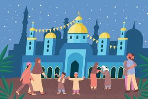 Ramadan Temple Flat Composition vector