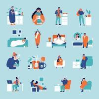 Sick People Flu Icons vector