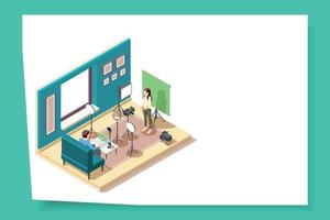 Vlogging Isometric Web Page vector
