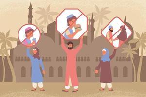 Ramadan Restrictions Flat Composition vector