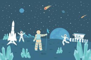 Astronaut On Moon Flat Background vector