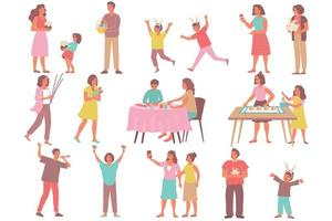 Easter People Icon Set vector