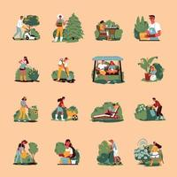 Gardening Color Icons Collection vector