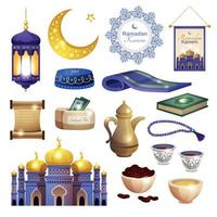 Ramadan Muslim Icon Set vector