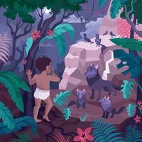 Boy In Jungle Composition vector