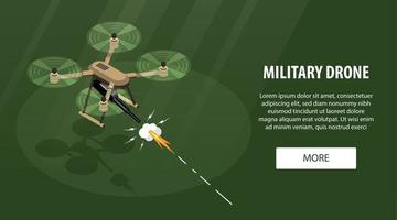 Military Drone Horizontal Banner vector