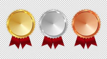 Silver and Bronze Medal Icon Sign First, Second and Third Place vector