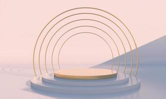 Minimal scene with geometrical forms, podiums in cream background with shadows. Scene to show cosmetic product, Showcase, shopfront, display case. 3d photo