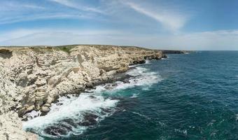 Seascape and view of beautiful Cape Tarkhankut , Crimea. photo