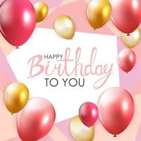 Abstract Happy Birthday Balloon Background Card Template vector