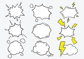 Vector collection of explosive and shocking cartoon blank speech bubbles.