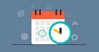 Time management concept with calendar date and clock icon. vector