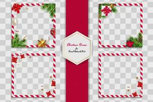 Holiday Photo Frame Set Template. Merry Christmas and Happy New Year vector