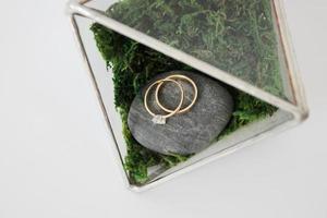 Scandinavian box with wedding rings photo