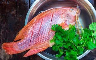 el pescado fresco se congela preparar para cocinar foto