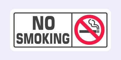 señal de no fumar. Icono de signo prohibido aislado en la ilustración de vector de fondo gris claro.