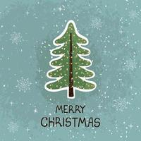 Greeting card with colorful hand draw illustration of Christmas tree. Merry christmas vector