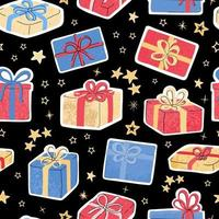 Seamless pattern with colorful hand draw illustration of christmas gifts vector