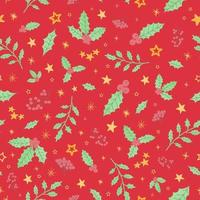 Seamless pattern with colorful hand draw illustration of Christmas decorations holly vector