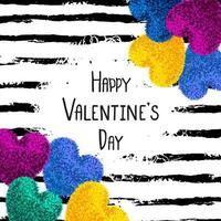 Happy Valentines Day greeting card with colorful fluffy heart, soft toy on striped brushstroke background vector