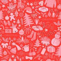 Seamless pattern with colorful illustrations of Christmas items vector
