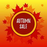Autumn square sale banner with maple leaves. Place for text. Vector illustration