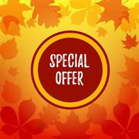 Autumn square sale banner with falling leaves. Place for text. Vector illustration