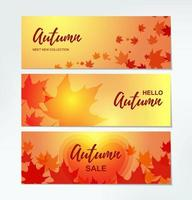 Set of Autumn horizontal banners with colorful maple leaves. Place for text. Vector illustration