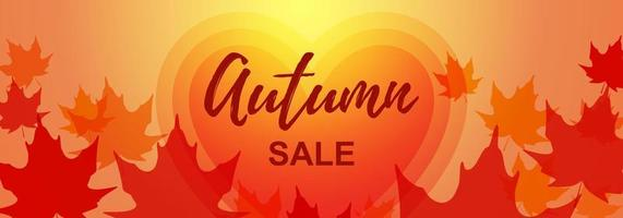 Autumn horizontal banner with maple leaves. Place for text. Vector illustration