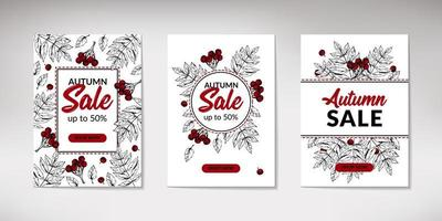 Set of hand drawn autumn sale banners with leaves. Vertical autumn design with space for text. Vector illustration