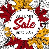 Hand drawn autumn sale banner with beautiful leaves. Square autumn design with space for text. Vector illustration