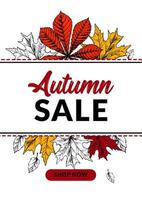 Hand drawn autumn sale banner with beautiful leaves. Vertical autumn design with space for text. Vector illustration