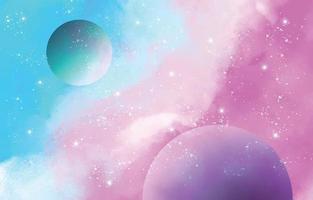Watercolor Pastel Galaxy vector