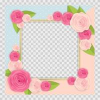 Cute Background with Frame and Flowers Collection vector