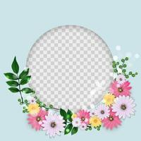 Cute Background with Frame and Flowers Collection Set. vector